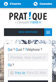 Version mobile de l'annuaire 118000